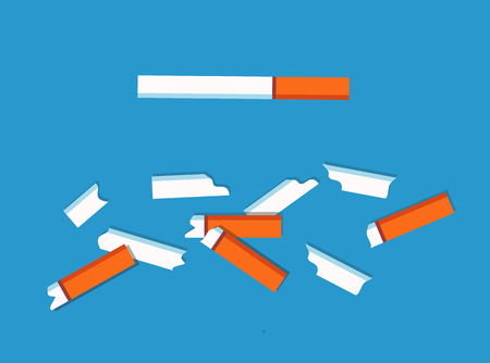 Illustration pour No tobacco cigarettes collection, danger because of addiction of people, broken pieces smoking habbits vector illustration isolated on blue background - image libre de droit