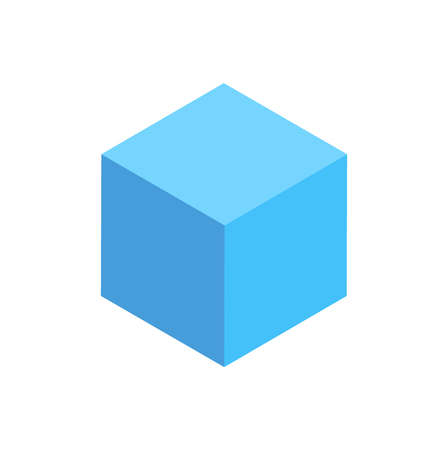 Illustration for Blue Cuboid Isolated Geometric Figure Pattern Icon - Royalty Free Image