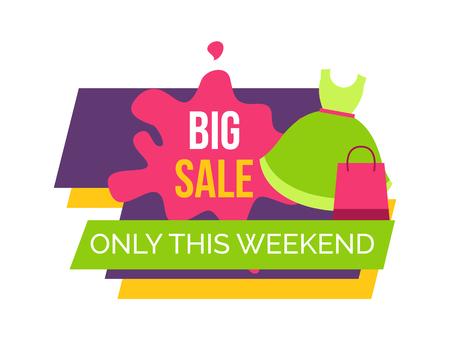 Ilustración de Big Sale Only this Weekend for Female Clothes - Imagen libre de derechos
