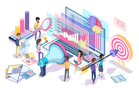Ilustración de Digital statistics collecting and analyzing poster, vector illustration of different data about internet customers that helps make marketing strategy - Imagen libre de derechos