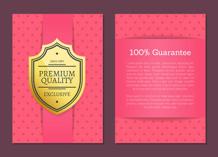Illustration pour Premium quality guarantee pink patterned posters set with headline and text sample. Product approval and exclusive offer clearance vector illustration - image libre de droit