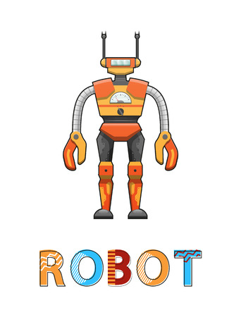 Illustration pour Robot with funny face poster. Robotic creature designed by human. Cybernetic science creating artificial systems with antenna vector illustration - image libre de droit