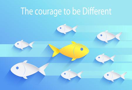 Ilustración de Courage to Be Different, Risk Taker Fish Icon - Imagen libre de derechos