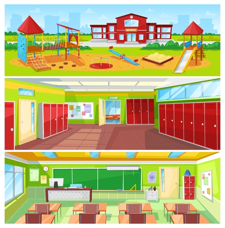 Illustration for School Interior and Outdoor Yard Colorful Banner - Royalty Free Image