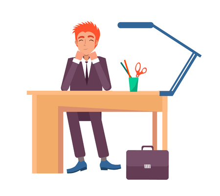Illustration pour Cheerful male sitting at workplace and smiling. Office worker at desk with stationary objects, lamp and glass on top vector illustration isolated on white - image libre de droit