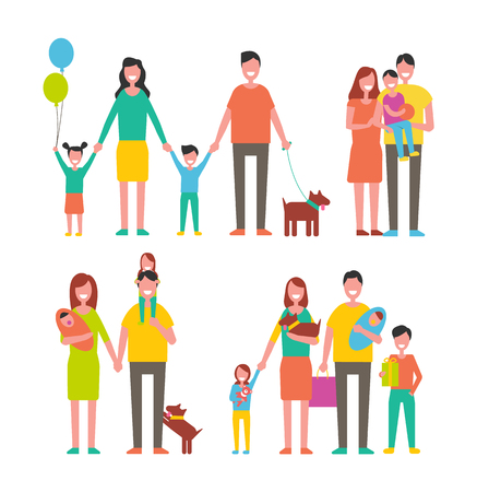 Illustration pour Family members cartoon characters spend time together. Parents and kids, children play with pets, happy relatives mother, father son and daughter vector - image libre de droit