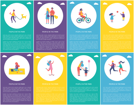 Illustration for People in park posters set with text sample. Children playing games, woman on bike riding bicycle. Lady skating and mother giving kid ice cream vector - Royalty Free Image