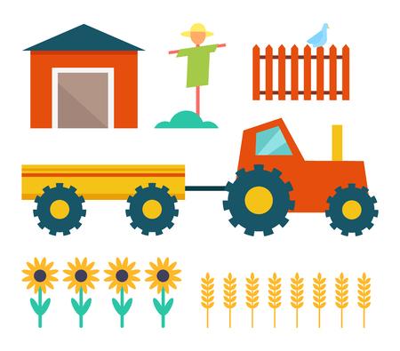Illustration pour Farm Tractor and Building Vector Illustration - image libre de droit