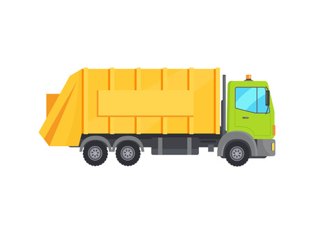 Illustrazione per Modern Huge Garbage Truck with Long Yellow Trunk - Immagini Royalty Free