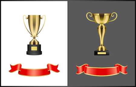 Ilustración de Gold award cups and ribbons for signature, different form trophy for competition reward isolated. Vector prize attributes, golden bows on stand - Imagen libre de derechos