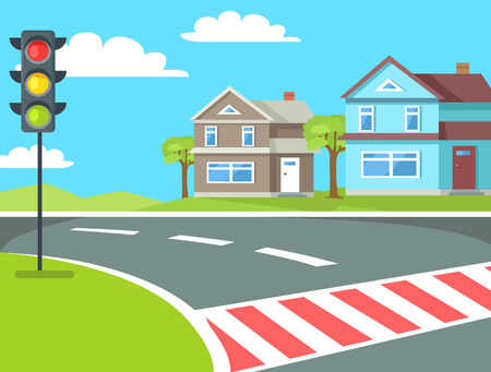 Illustration pour Pedestrian crossing with traffic lights sign on the road at rural countryside vector illustration. Home buildings on background of blue sky - image libre de droit