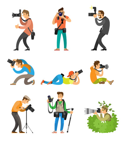Illustration pour Photographers or photojournalists with cameras on tripod taking shots from bottom, above and front angle. Photo reporter in bush vector illustration. - image libre de droit