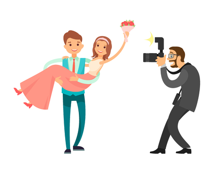 Illustration pour Professional photo session of newlywed couple, groom holding bride on hands vector illustration isolated. Photographer taking pictures of just married couple - image libre de droit