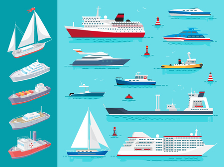 Illustration pour Water transport ships traveling means set vector. Sailing boat and buoys, cruise liner of big size, ferry and cargo shipment vessel on sea surface - image libre de droit