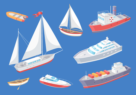 Illustration pour Water transport traveling vessel vector. Set of various kind of transportation means for passengers. Great distances, sailing boat and cargo ship - image libre de droit