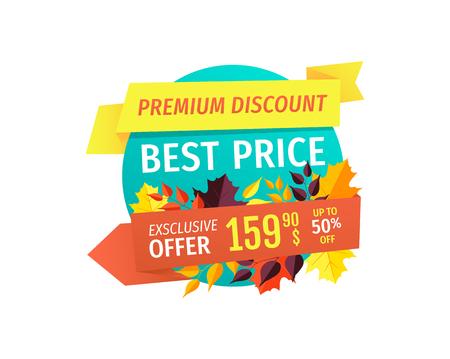 Illustration pour Premium Autumn Discount with Best Price Emblem - image libre de droit
