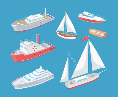 Ilustración de Water transport traveling vessel vector. Set of various kind of transportation means for passengers. Great distances, sailing boat and cargo ship - Imagen libre de derechos