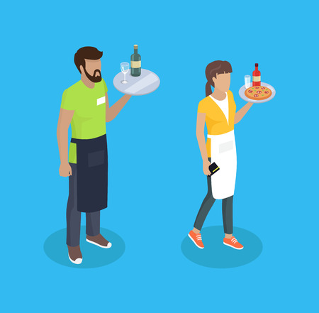Illustration pour Waitress and waiter with trays and food. Serving of drinks alcoholic beverage glass bottle Italian pizza slices. Servants servers 3d isometric vector - image libre de droit