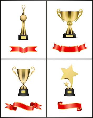 Ilustración de Awards and Trophies Icons Set Vector Illustration - Imagen libre de derechos