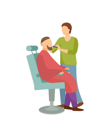Illustration pour Procedure for men in barber shop cartoon banner isolated vector. Hairdresser shaving bearded client sitting in armchair covered by cloth, hipster man salon - image libre de droit
