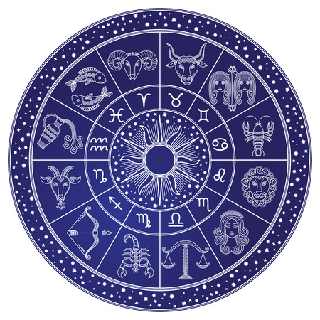 Illustration pour Horoscope and Astrology Circle, Zodiac Vector - image libre de droit