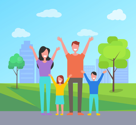 Illustration pour Happy family spend time together. Mother, father, daughter and son rise hands up greeting everyone. Smiling citizens in city park with buildings, vector - image libre de droit