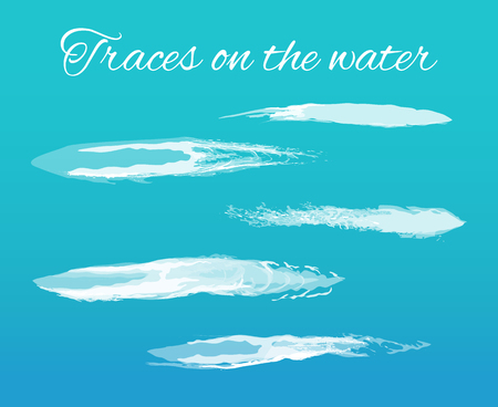 Illustration pour Traces on water poster with splashes and text vector. Abstract lines left on surface because of transport of vessel. Brush design effects and elements - image libre de droit