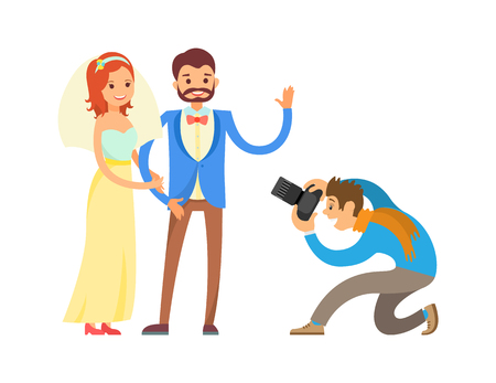 Illustration pour Groom in suit and bride wearing gown, waving hand, digital camera vector illustration isolated. Wedding photo session of newlyweds by photographer. - image libre de droit
