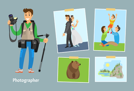 Illustration pour Photographer with digital camera and photos. Wedding picture, family on lawn, wild grizzly bear and landscape of rock near river vector illustrations. - image libre de droit