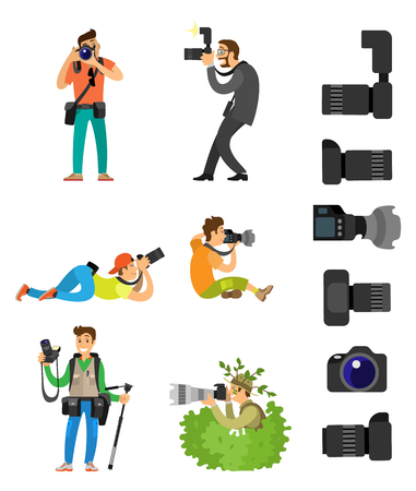 Illustration pour Professional photographing gear with flash lights, removable lens isolated on white vector icons. Photographers with digital camera taking photos in bush - image libre de droit