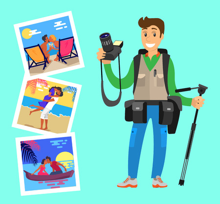 Illustration pour Photos of happy lovers at sunset, hugging at coastline, meeting sunrise in boat. Photographer with tripod standing near pictures of couples resting on beach - image libre de droit