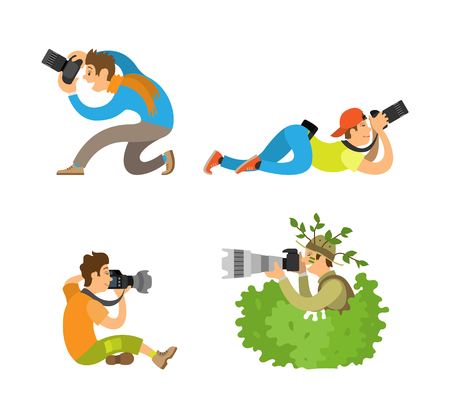 Illustration pour Journalists or reporters spy making reportage vector illustrations. Photographers or paparazzi taking photo with digital cameras from all angles and bush - image libre de droit