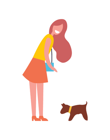 Illustrazione per Woman walking with dog pet icon. Smiling lady with handbag on shoulder wants to hug puppy. Canine mammal wearing collar on neck isolated vector icon - Immagini Royalty Free