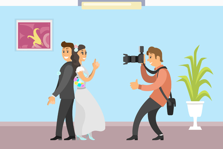 Illustration pour Wedding photo session of newlyweds by photographer. Groom in suit and bride wearing gown, funny spy pose, digital camera vector studio room interior - image libre de droit