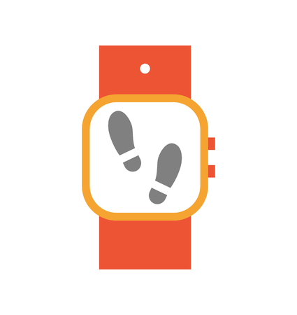 Ilustración de Wristwatch with display and steps on screen. Isolated icon of smart watch used during sport exercises. Digital device tracing counting motions vector - Imagen libre de derechos