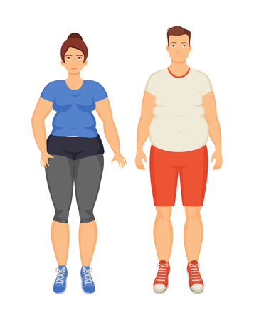Illustration pour Man and woman unhappy because of obesity, isolated icons set vector. Overweight fat people with cellulite on belly and legs. Obeseness and adiposity - image libre de droit