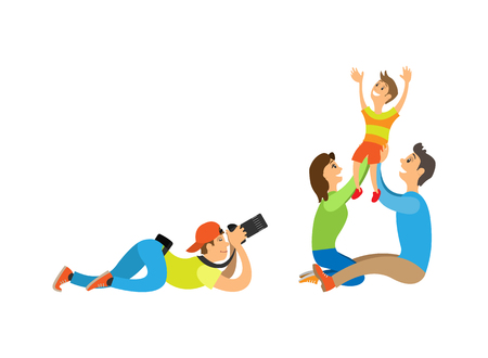 Illustration pour Family photo session, kid and parents. Photographer holding camera making picture of mother with father raising child vector illustration isolated. - image libre de droit