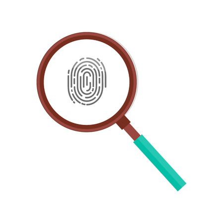 Ilustración de Fingerprint in magnifying glass vector icon isolated. Personal identity sign, detective research concept. Investigation of thumb prints by magnification loupe - Imagen libre de derechos