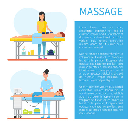 Ilustración de Hot stone massage therapy performed by expert masseuse. Usage of special apparatus, machine for relaxing and smooth skin care, clients on table vector - Imagen libre de derechos