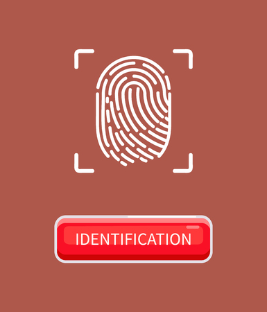 Ilustración de Identification and recognition of human, individual print left by finger. Biometric material and data. Fingerprint of person poster with button vector - Imagen libre de derechos