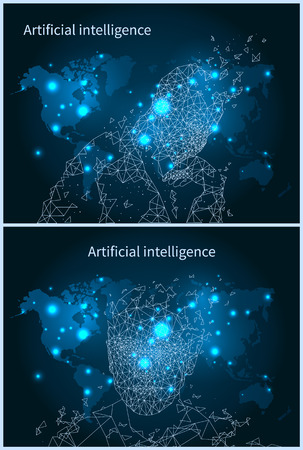 Illustration pour Artificial Intelligence Network and Map Vector - image libre de droit
