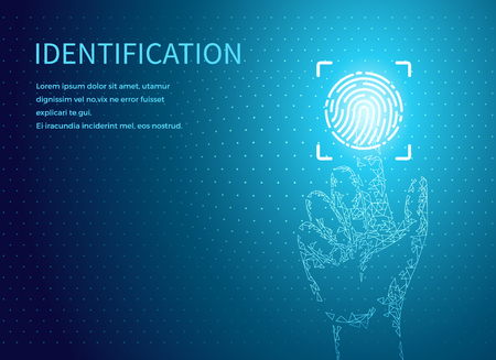 Ilustración de Identification fingerprints poster text sample vector. Fingermark and thumbprint authorization of unique personal finger pattern of human, digital data - Imagen libre de derechos