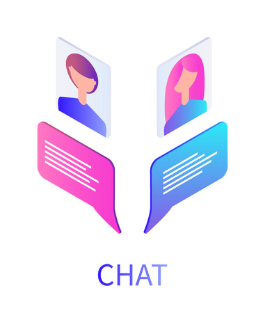 Illustration pour Chat boxes and people avatars of teenagers vector. Teenagers profiles, girl and boy youth, communication by using modern digital methods and devices - image libre de droit