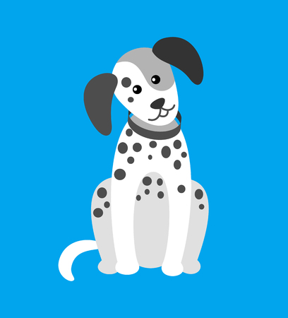 Illustrazione per Dog Puppy with Spots Canine Wearing Collar on Neck - Immagini Royalty Free