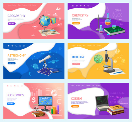 Illustration pour School subjects, education and knowledge. Geography and chemistry, astronomy and biology, economics and coding Internet banners vector illustration - image libre de droit