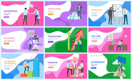 Illustrazione per Leadership and presentation of startup ideas vector. Man giving explanation on board, teamwork achieving successful results. Finance making profits - Immagini Royalty Free