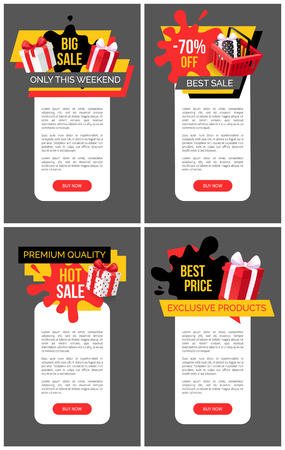 Illustration pour Present boxes in shopping basket, promotional sellout and clearance, price fall tags. Hot sale, big offer on exclusive products set vector web site templates. - image libre de droit