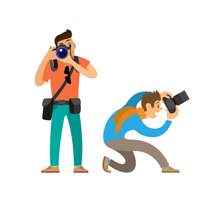 Illustration pour Photographers with Modern Digital Photo Cameras - image libre de droit