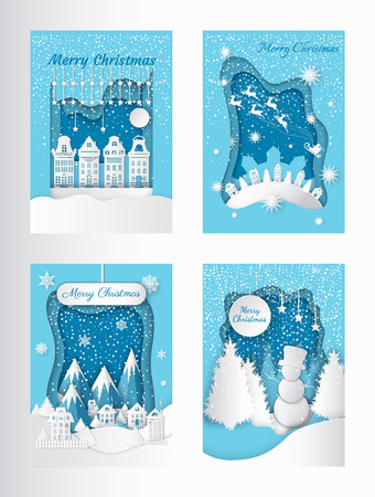 Illustration pour Merry Christmas greeting postcards mountains and city. Vector village with houses and spruces on hill, Santa and deer riding in sky. Forest with snowman, snowy trees - image libre de droit