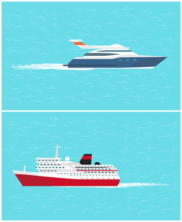 Illustration pour Water transport cruise liner and yacht, sea trip by comfortable transportation means vector. Vehicles for people to voyage and get to destination - image libre de droit